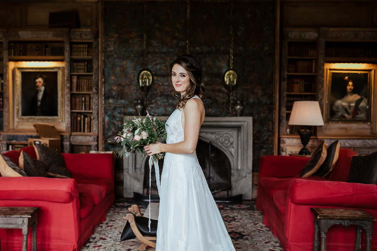 portrait of the bride in lisnavagh house library