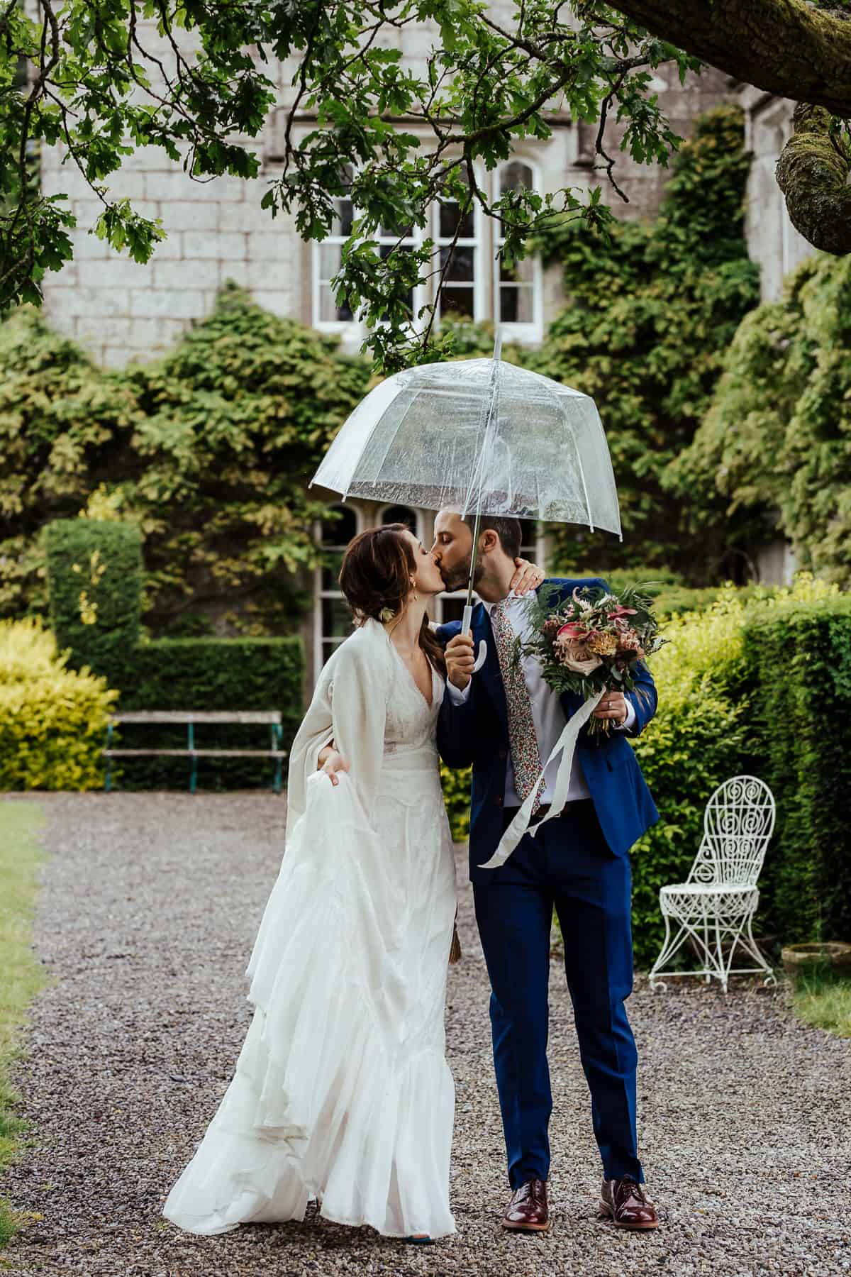 rainy wedding day at lisnavagh house