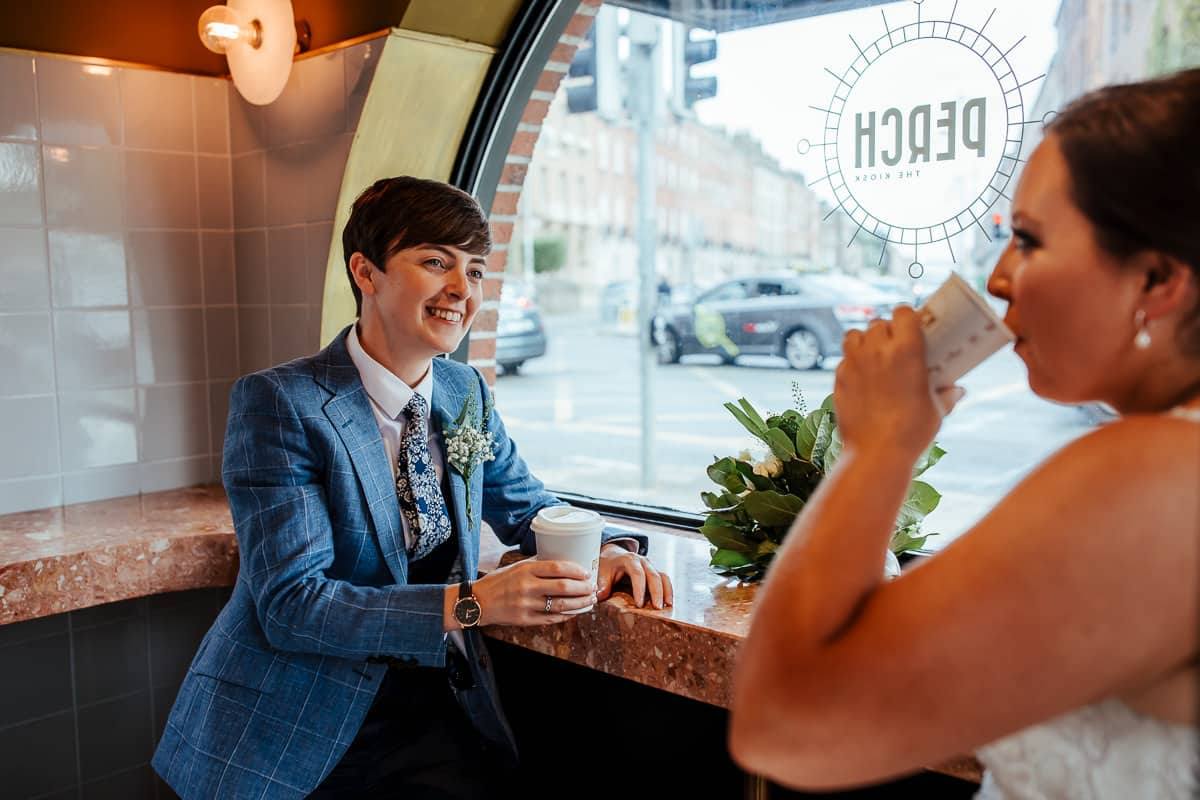 wedding couple having a coffee at perch kiosk dublin