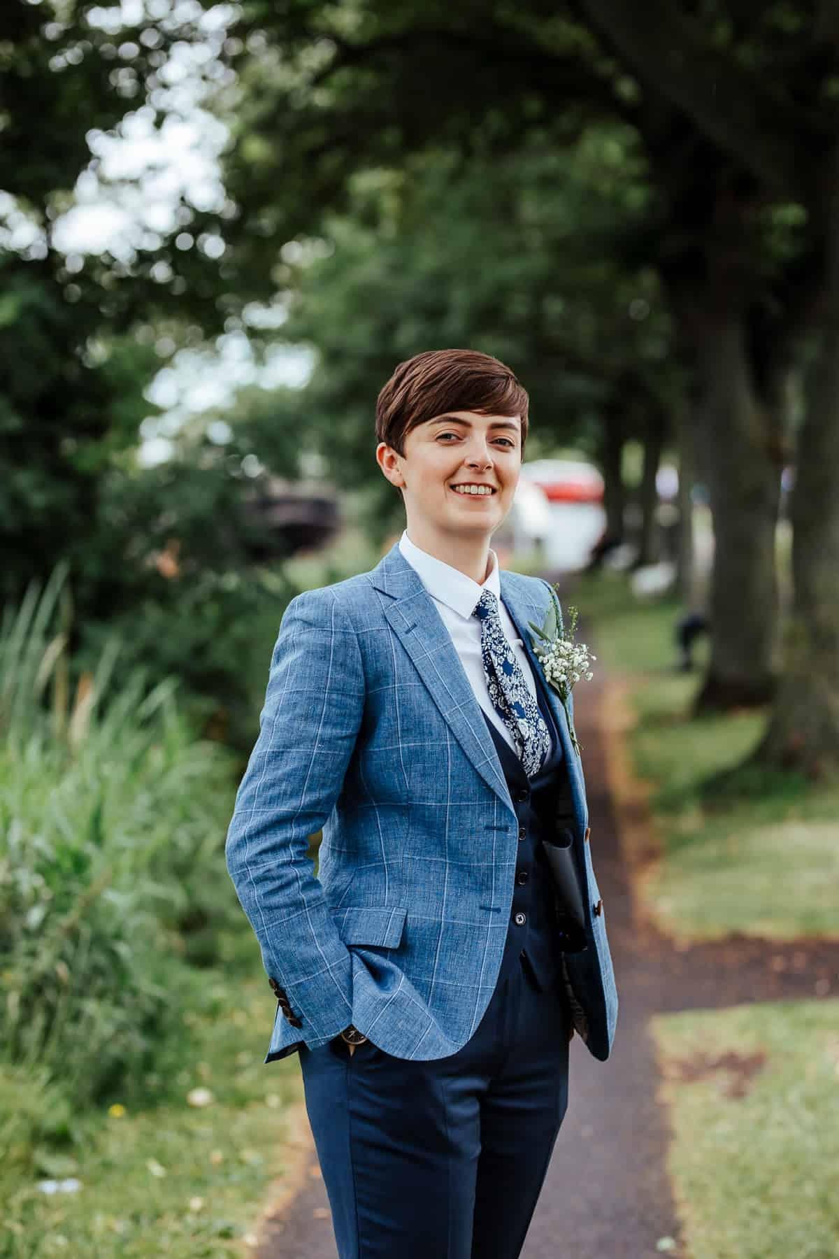 bride in best menswear suit