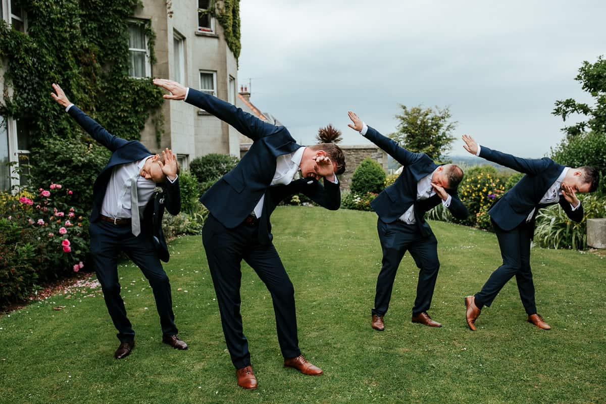funny photo of groom and his groomsmen