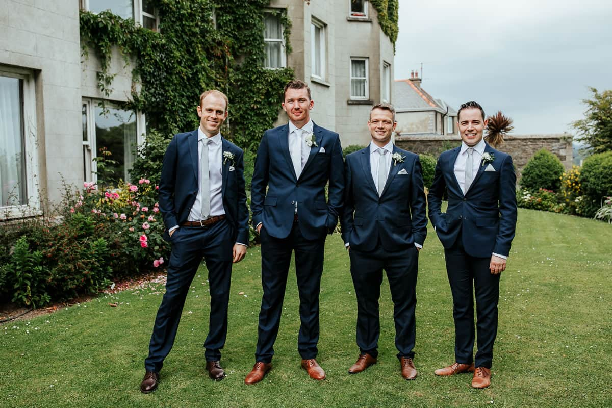 groom and his groomsmen at tinakilly house