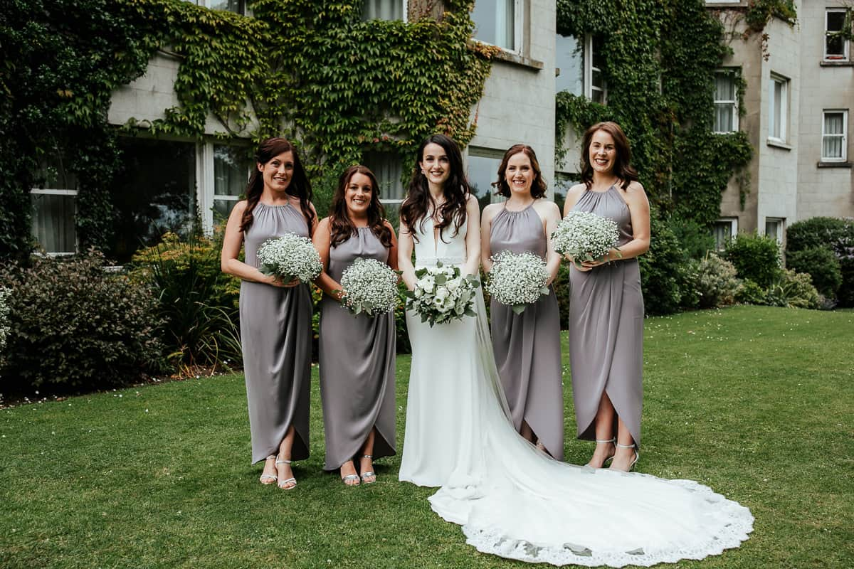 bride and her bridesmaids at tinakilly house