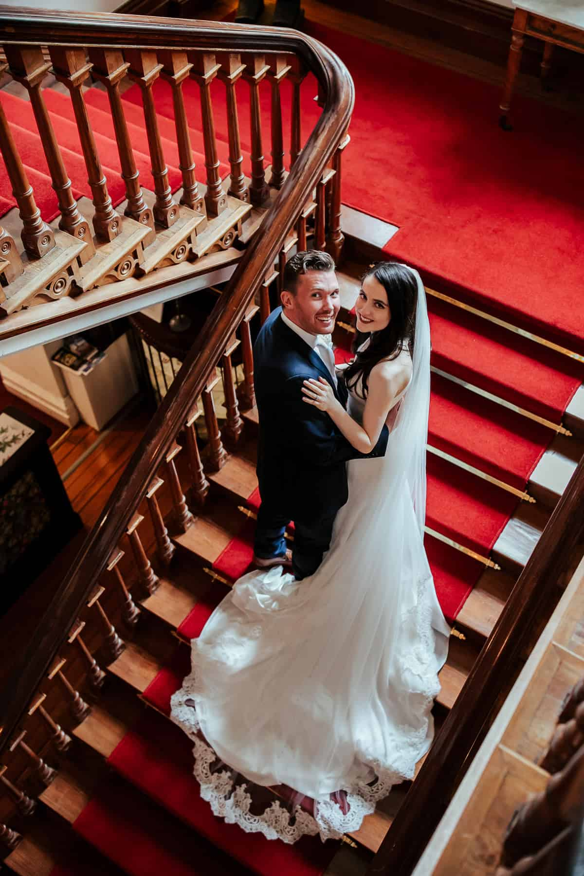tinakilly house wedding staircast photo