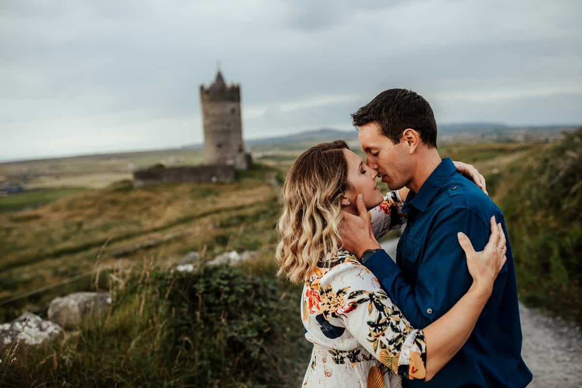 couple photo at doonagore castle co clare
