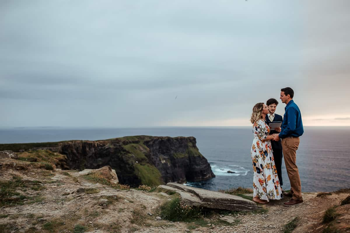 cliffs of moher vow renewal at sunset