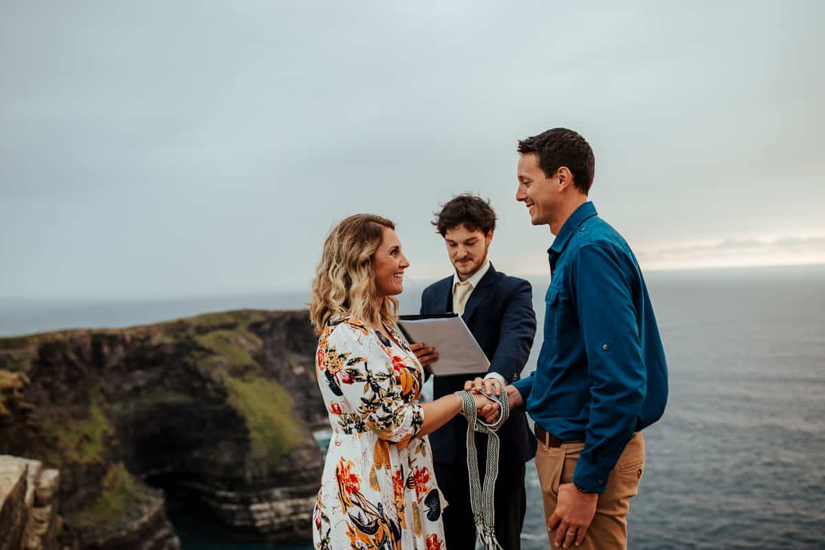 handfasting ceremony at cliffs of moher vow renewal