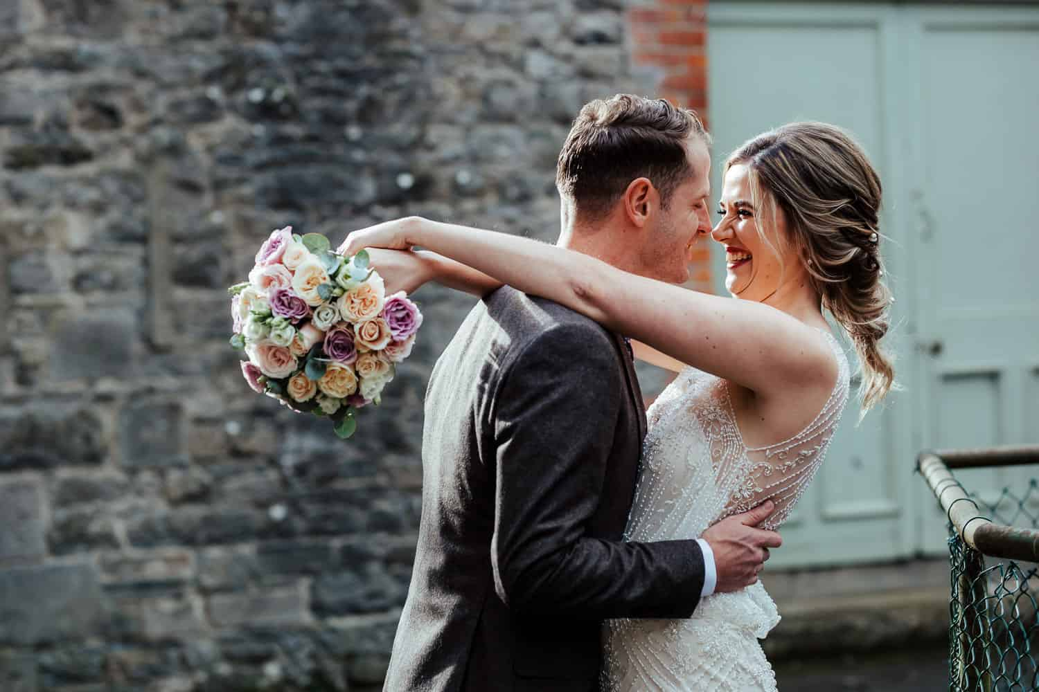 first look between bride and groom the millhouse slane wedding