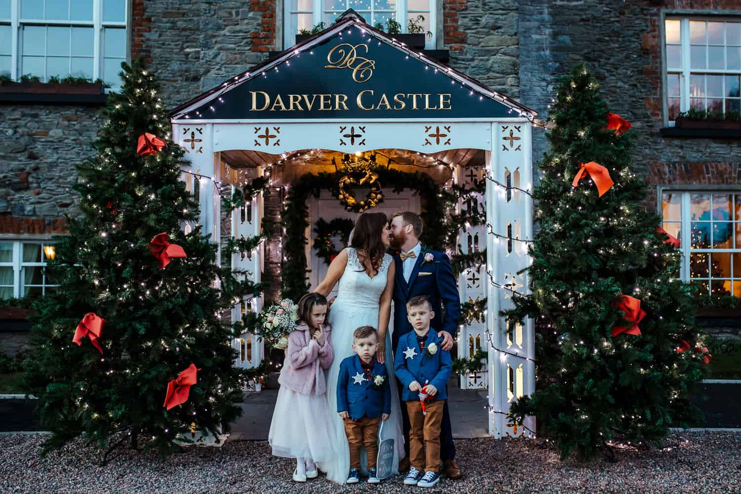 darver castle wedding at christmas family portrait