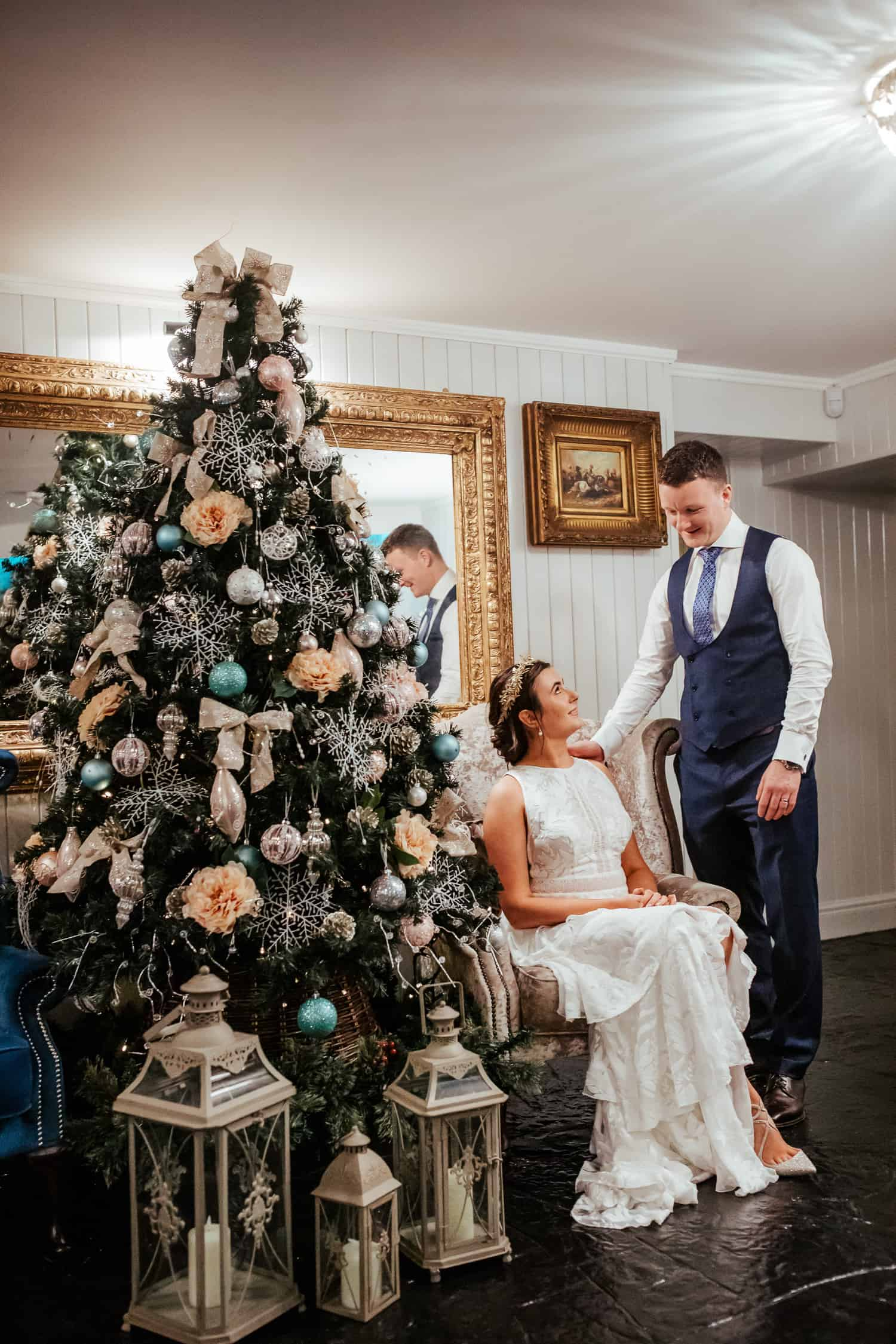 couple portrait at darver castle christmas wedding