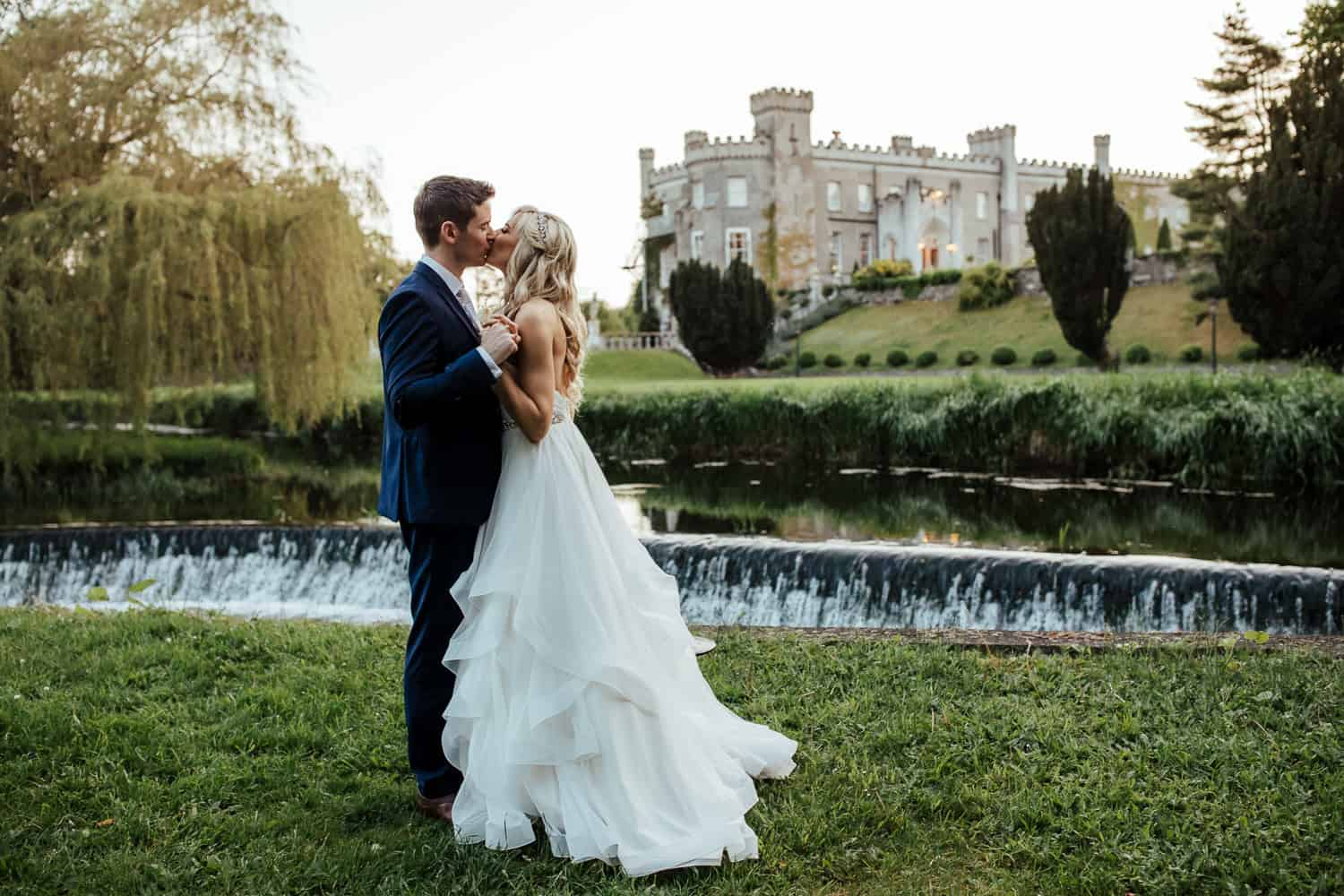 wedding couple in bellingham castle louth sunset wedding photo