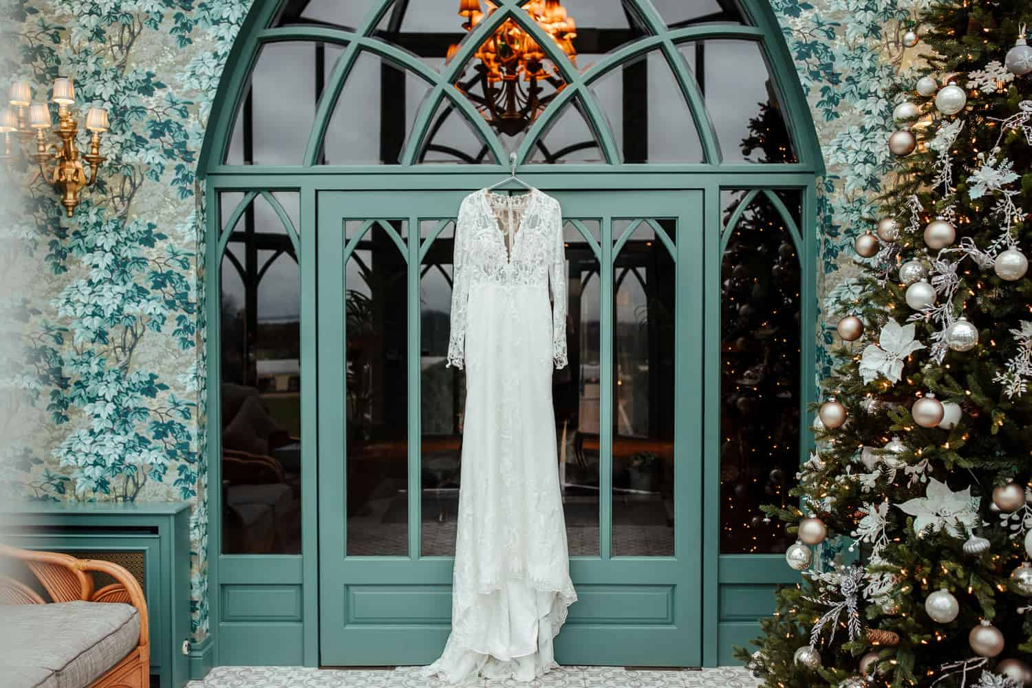 wedding dress photo christmas wedding at glenlo abbey