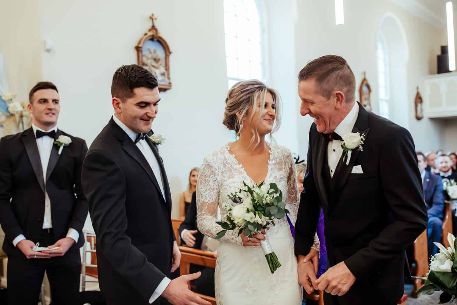 wedding ceremony at st james church bushypark galway