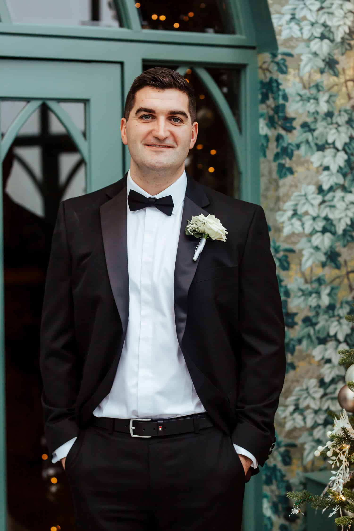 portrait of the groom at glenlo abbey wedding