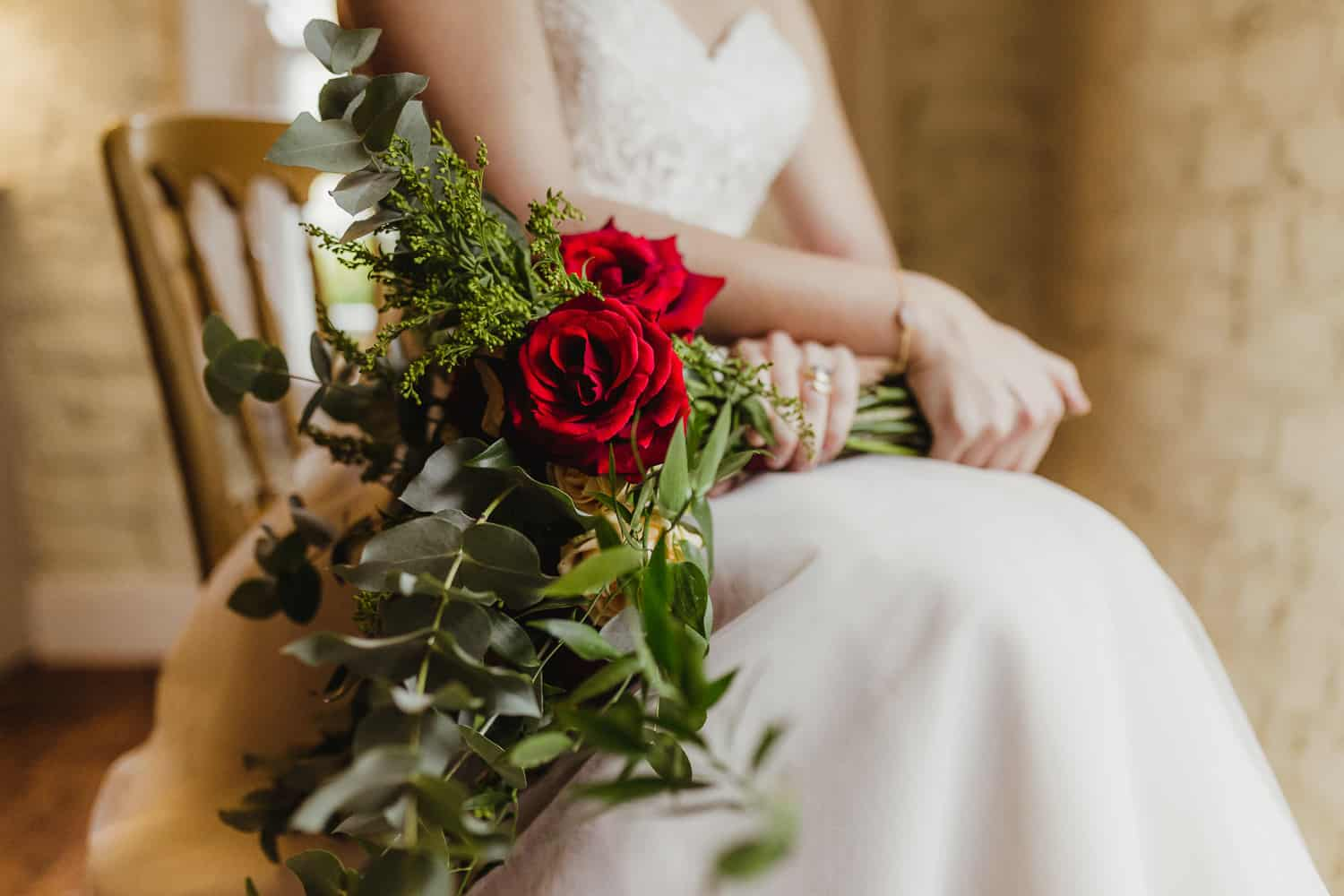 bridal bouquet with red roses