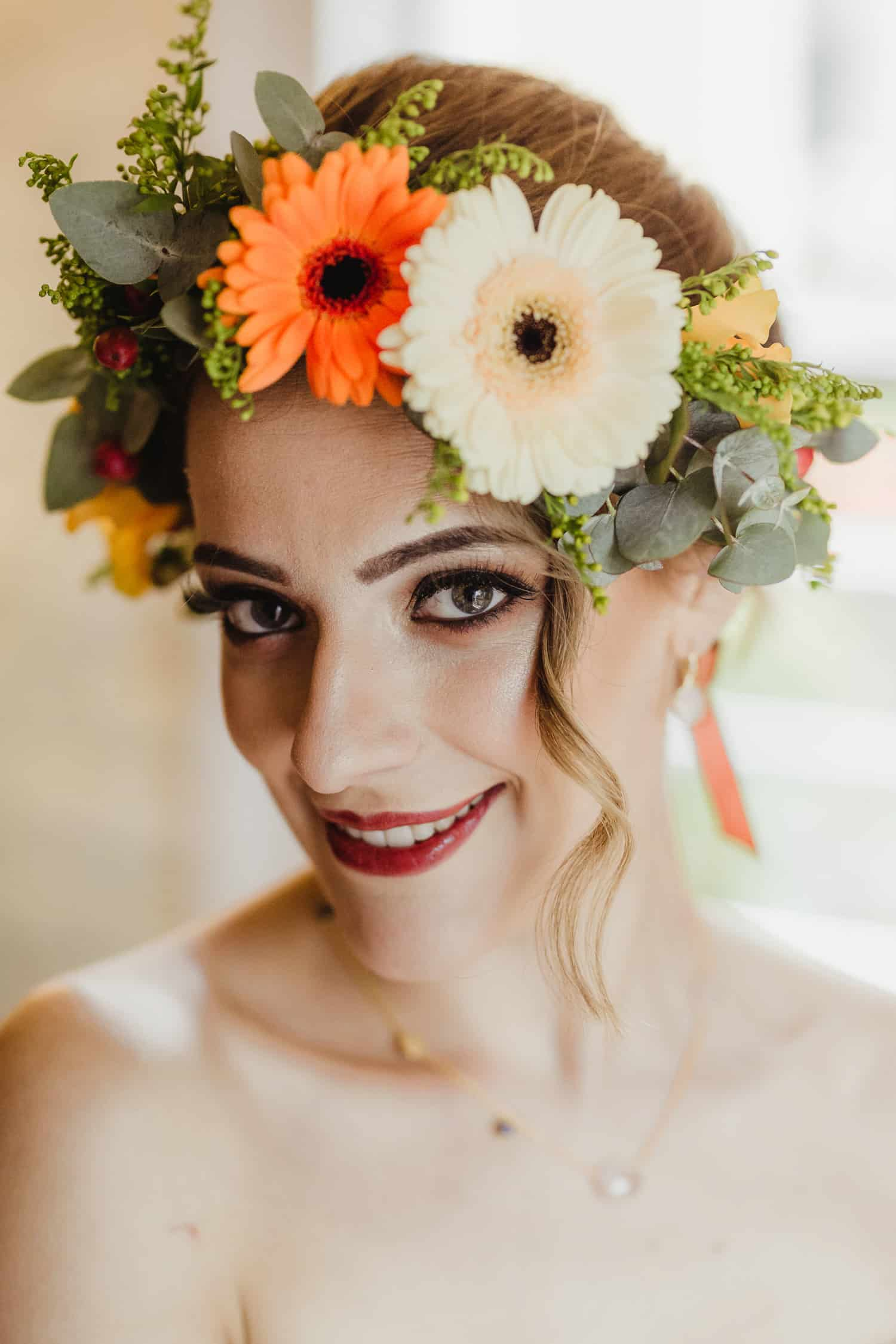 yellow and orange flower crown for bride